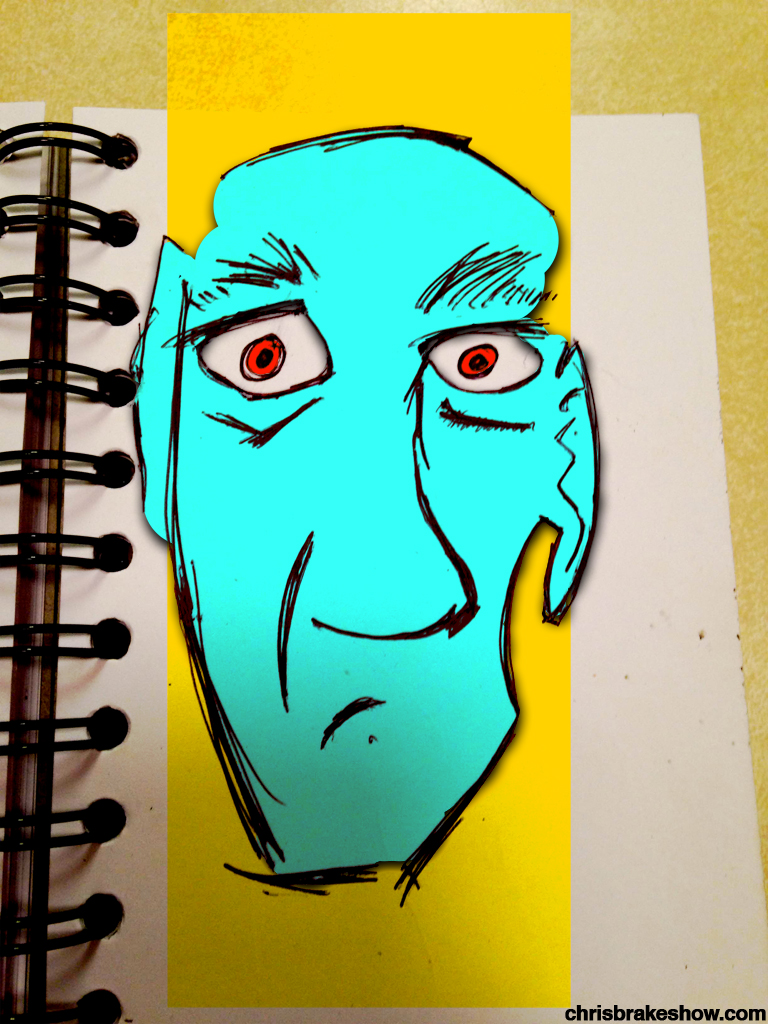 Mr. Man Wanting Out of the Book | Chris Brake's Daily Doodle