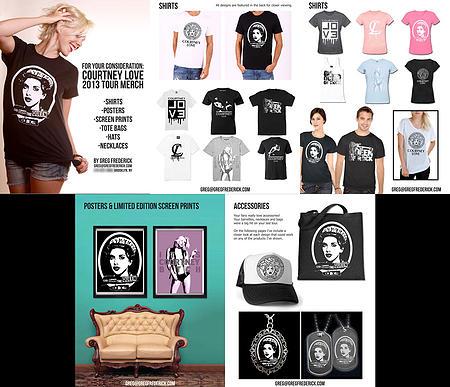 Greg Frederick's Custom Designs for Courtney Love Merchandise